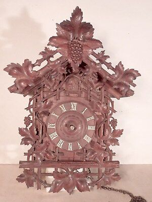 "Early Carved Cuckoo Clock w/ Wood Plate Movement for Restoration 17 1/2"" High"