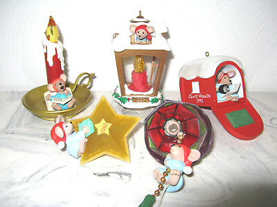 Lot of 5 Hallmark Christmas Santa Chris Mouse Mice Ornaments NO boxes/Connector