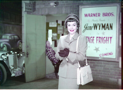 Jane Wyman original 1950 studio 8x10 transparency Stage Fright outside theater