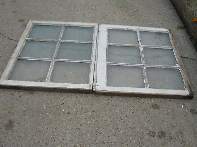 2 pcs  Primitive Antique Old Vintage Shabby 6 Pane Wooden Window Farmhouse