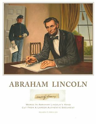 """Abraham Lincoln Authentic """"saving reserving"""" Hand-Written Words from Document"""