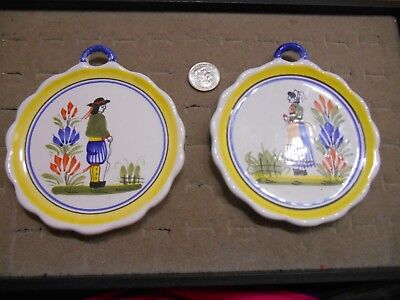 2 Henriot Quimper, France, Man /Woman, Round Coasters or Wall Plaques, 4 5/8""