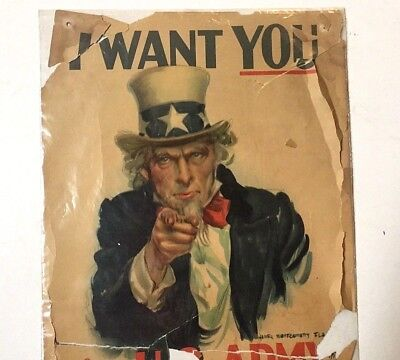 ORIGINAL Old Antique WWII UNCLE SAM MILITARY I WANT YOU US ARMY POSTER As-Is