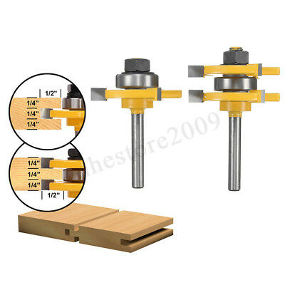 2pcs Tongue & Groove Router Bit Set 3/4'' Stock 1/4'' Shank For Woodworking