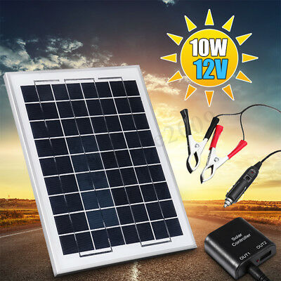 10W 12V Poly A-Class Solar Panel Battery Charger w/ Car Charger Crocodile