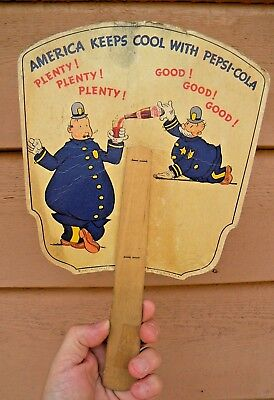 X SCARCE Vintage 1940 PEPSI COLA Advertising Hand Fan  PEPSI & PETE COPS Graphic