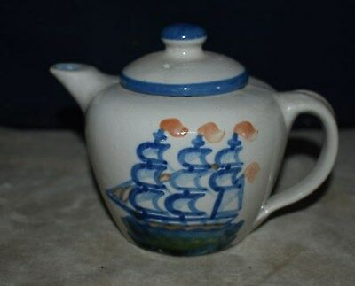 """Hard To Find M A Hadley """"ship & Whale"""" Pattern Teapot - Hand Decorated"""
