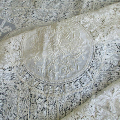 "Vintage French NORMANDY LACE Topper 28"" X 28"" Embroidered FLOWERS on Sheer Linen"