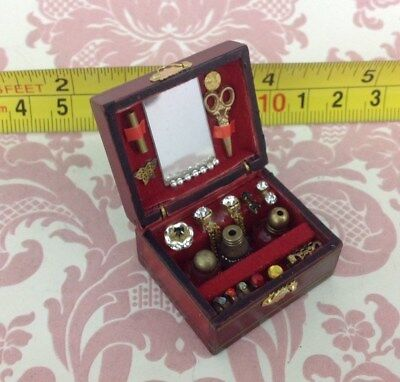 Dollhouse Miniature Room Wood Brown Collection Jewerly Box 3.5cm 1:12