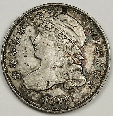 1829 Bust Dime.  Uncleaned A.U. Detail.  Holed.  129146