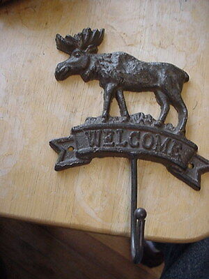 Cast Iron Welcome Coat Hanger With Moose Excellent