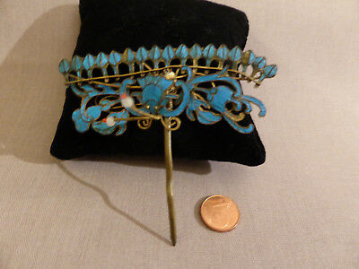 Kingfisher feather Hairpin Ornament China 19Jh.Qing Dynasty