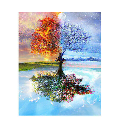 DIY Four Seasons Tree Paint By Number Kit Acrylic Oil Painting Canvas Art Wall