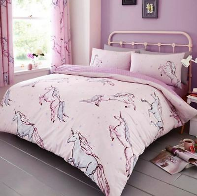 Star Unicorn Double Duvet Cover Set Bedding Pink - 2 In 1 Design
