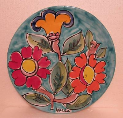 """La Musa Italian Art Pottery Floral Wall Plaque 13"""" Charger Mid Century Modern"""