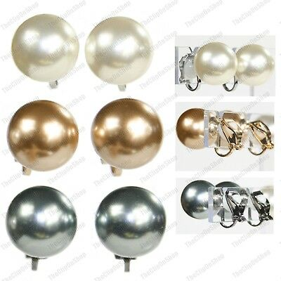 CLIP ON large 14mm pearls BIG ROUND PEARL EARRINGS clips GOLD/SILVER/BLACK