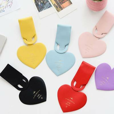 Travel Accessories Simple Love Heart Leather ID Address Holder Luggage Tag