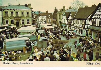 x england Herefordshire early old antique  postcard market place leominster