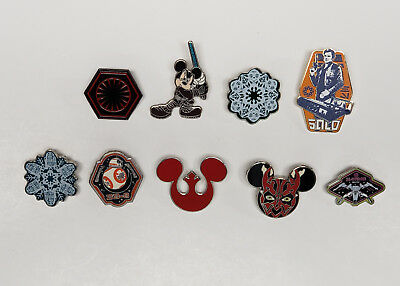 Assorted Lot of 9 Disney Star Wars Trading Pins Solo BB8 + More
