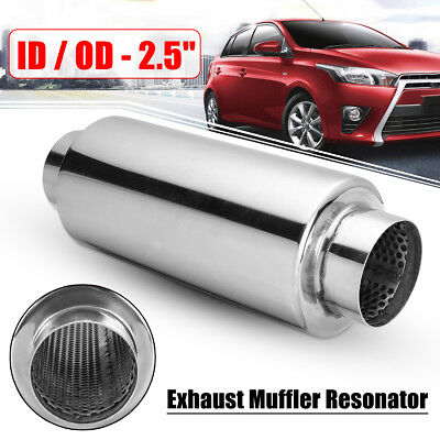2.5 inch 63mm Inlet Outlet Car Exhaust Muffler Tail Pipe Resonator Stainless New