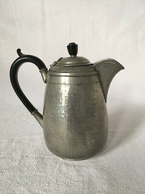 Antique Harrods Hand Hammered Silver Pewter Coffee Pot Jug