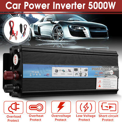 5000W Car Solar Power Inverter 12/24V DC to 110/220V AC Sine Wave Converter