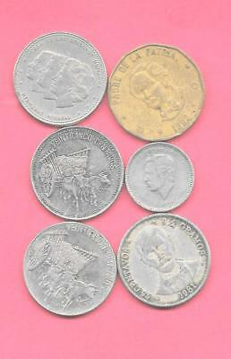 Dominican Republic 6  Different 1981-1990 Old Coin Lot Collection Set W Large