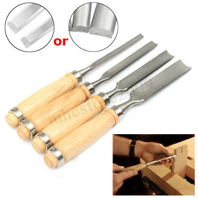 4Pcs DIY Handle Hand Home Carving Set Wood Gouge Chisel Woodworking Tool