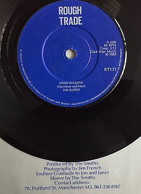 """THE SMITHS -Hand In Glove- 1st Press Solid Centre UK 7"""" with Manchester sleeve"""