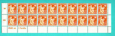 Lithuania Block Of 20 Stamps 15 Ct 1940 Mnh 827