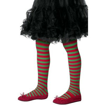 Child Red and Green Striped Tights Christmas Elf Girls Kids Fancy Dress