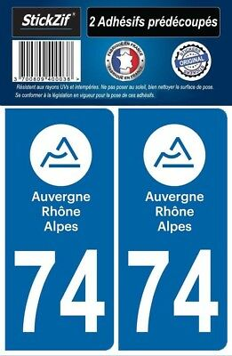 2 Stickers Departement 74 Plaque Immatriculation Region Auvergne Rhone Alpes