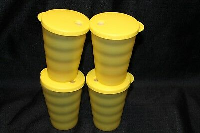 tupperware impression tumblers 11 oz with straw seals yellow set of 4