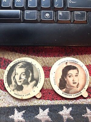 VINTAGE ICE CREAM LIDS 1940's VERONICA LAKE DOROTHY LAMOUR SEALTEST DIXIE CUPS