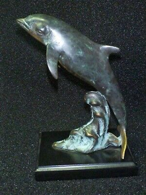 San Pacific International SPI Bronze Dolphin Swimming San Francisco Sculpture