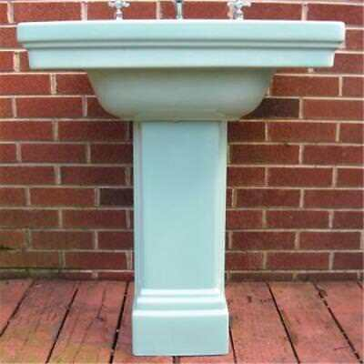 1931 Art Deco Standard Ming Green Pedestal Sink 2 Pc Original Faucet Handles