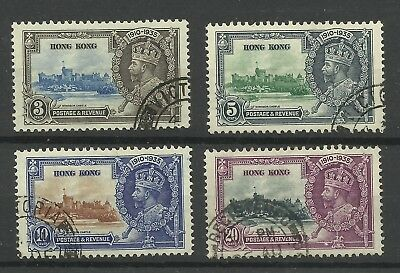 Hong Kong 1935 Set of 4 Silver Jubilee Issues, Sg 133-136, VF/used. [CW 539]