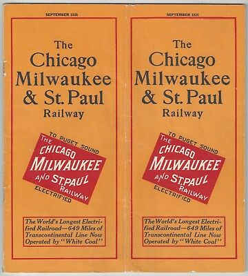 1926 Chicago Milwaukee & St. Paul Electric Railway to Puget Sound - Timetable