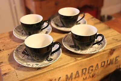Vintage Set Ridgway Homemaker 4 Coffee Cups & Saucers – Iconic Design! –