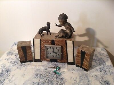 Vintage French Art Deco Marble Mantle Clock & Garnitures (2532)