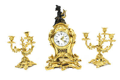 Antique French Gilt Bronze Rococo Mantel Clock Garniture Set 19th Century
