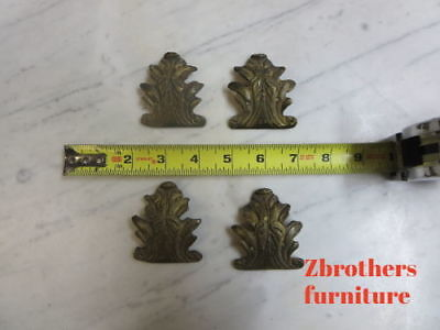 4 Vintage French Brass ormolu Louis XV Carved Trim Plaques Server corners  G
