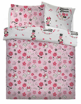 New Minnie Floral Wink Double Duvet Quilt Cover Set Girls Childrens Bedroom Gift