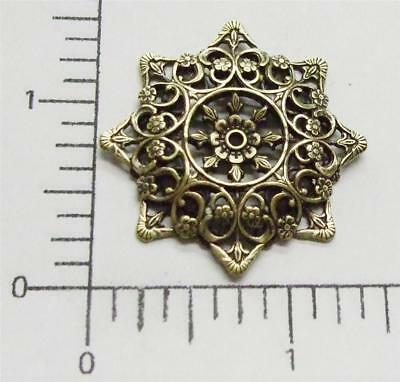 25183   2 Pc Brass Oxidized Dimensional Octagon Filigree Jewelry Finding  SALE