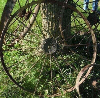 1 Vintage Iron WAGON WHEEL 44 inch metal antique spokes farm implement steel