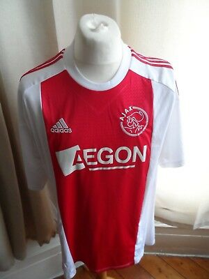 """Ajax Amsterdam Fc 2010-11 Adidas Home Shirt Size X-Large 46-48"""" Excellent"""