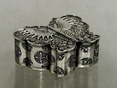 Chinese Export Silver Butterfly Box    c1890  SIGNED  -  TWIN WINGED DOORS  -