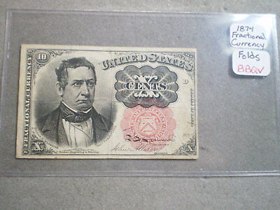 1874 10-Cent U.s. Fractional Currency Note/ Folds--Free Shipping---------