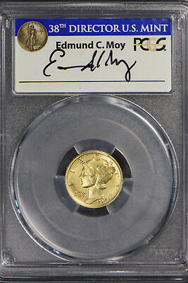 2016-W MERCURY 10C DIME GOLD COMMEMORATIVE ** PCGS SP 70 ** EDMUND MOY Lot#F091