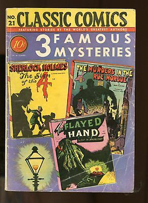Classic Comics #21 Very Good- 3.5 (Vg-) 1944 3 Famous Mysteries Hrn 21